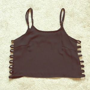 Brandy Melville Black Crop Top with Cutout Sides